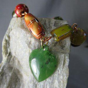Beaded Copper Charm Bracelet Nephrite Jade Heart